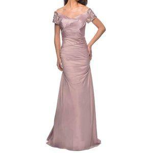 LA FEM Off Shoulder Bead Ruched MOB Champagne Gown